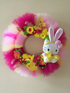 Hello Kitty Bunny wreath, tulle wreath, spring wreath, easter bunny wreath by Tapsikdesign on Etsy