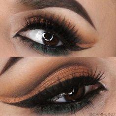 Brows: @anastasiabeverlyhills Dipbrow in Ebony Eyes: All shadows by @makeupgeektv @makeupgeekcosmetics Chickadee (upper crease and crease) Bada Bing (used