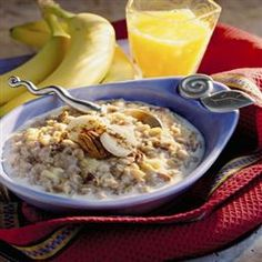 Banana Bread Oatmeal- I just tried this. Very good. I used honey instead of brown sugar and used a mix of  cooked steel cut oats and quick oats. -JM