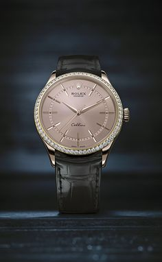 The new Rolex Cellini Time in 18 ct Everose gold with a bezel set with 62 diamonds and a pink dial. This new model reinterprets the timeless codes of classic watchmaking with elegant modernity. #RolexOfficial #Baselworld