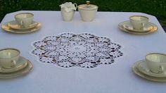 Monart tablecloth with round hand made crochet! 100% linen; orders at: monart.haft@wp.pl