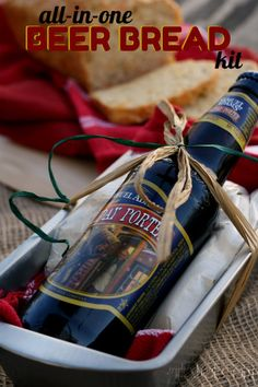 girlichef: All-in-One Beer Bread Kit + Apple Cheddar Beer Bread~T~ A great gift idea. Bread pan, dish towel, dry ingredients, bottle of beer and instructions for making the bread +different add in ideas. A wonderful holiday gift or hostess gift.