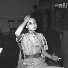 """"""" Audrey Hepburn at a press event, Ciampino Airport, June 16, 1958 Lost In History @HistoryToLearn """""""