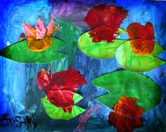 water lilies project for kids (monet theme) tissue paper flowers