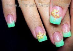 Turquoise tips with yellow flowers