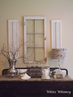 great window and shutters and use of coffee sacks!