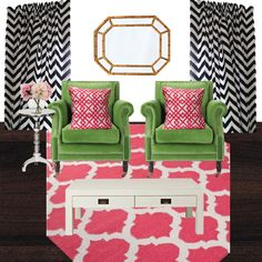 Birch Grove Interiors, pink and green living room, green armchairs, bamboo mirror, black chevron curtains, pink rug, silver accent table