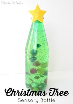 Christmas Tree Sensory Bottle is full of Christmas magic for all kids, even babies and toddlers while providing a calming sensory retreat for older kids! (Christmas Activities For Toddlers) Christmas Crafts For Toddlers, Xmas Crafts, Baby Crafts, Christmas Baby, Toddler Crafts, Christmas Themes, Fish Crafts, Spring Crafts, Simple Christmas