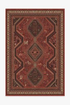 Zareen Scarlet Red Rug   Washable Rug   Ruggable Coral Rug, Persian People, Burgundy Rugs, Machine Washable Rugs, Distressed Texture, Farmhouse Rugs, Black Rug, Red Rugs, Persian Carpet