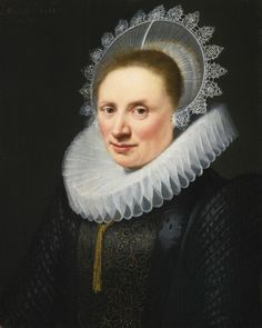 JAN ANTHONISZ. VAN RAVESTEYN THE HAGUE CIRCA 1572 - 1657 PORTRAIT OF A LADY IN A WHITE LACE RUFF AND CAP