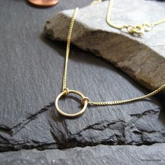 Zierliche Circle of life Halskette, 585er Gelbgold, Ewigkeit Halskette, ca.10 mm