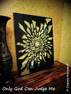 Картина панно рисунок Мастер-класс Панно Осколки Краска Стекло Фанера фото 26