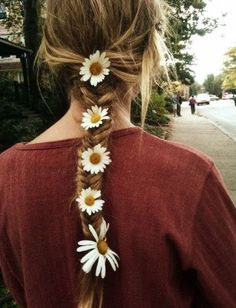 Fishtail plait with daisy accents