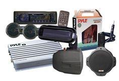 Pyle - 6 Speakers Marine AM/FM SD/USB/Radio w/Cover/Wiring/Amplifier & Antenna (Black)