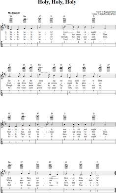 Holy, Holy, Holy: Chords, Sheet Music and Tab for Ukulele with Lyrics Christian Ukulele Songs, Ukulele Worship Songs, Piano Songs, Guitar Songs, Guitar Tips, Piano Music, Guitar Parts, Music Music, Gospel Music