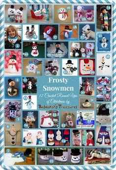Frosty Snowmen - 12 Crochet Round Ups of Christmas via @beckastreasures
