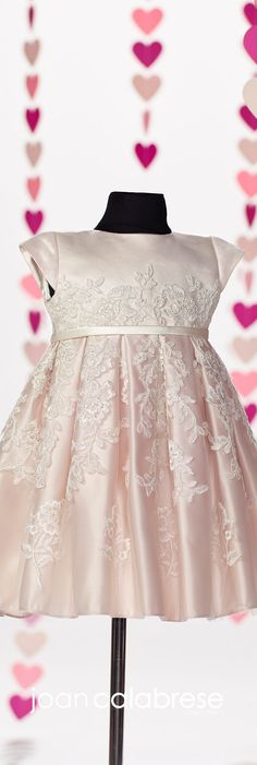 Joan Calabrese for Mon Cheri - Fall 2017 - Style No. 217391B - ivory and petal pink satin and lace baby flower girl dress