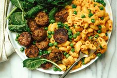 Cheddar Cheezy Mac with Italian Sausage and Green Peas