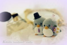 Special Edition----LOVE ANGELS Wedding Cake Topper-love penguin with sweet heart base on Etsy, $110.00