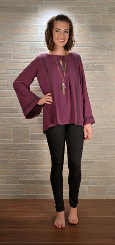 Plum Bell Sleeve Top with Crochet Stripes