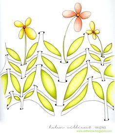 "Y-flip. Zentangle Pattern by Helen Williams. I've extended the base of the y's here"". Zentangle Drawings, Doodles Zentangles, Zentangle Patterns, Doodle Drawings, Doodle Patterns, Zen Doodle, Doodle Art, Helen Williams, Rock Flowers"