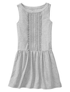 Grey Drop-waist pintucked dress | Gap
