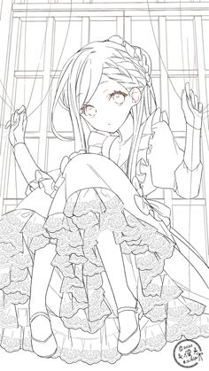 Manga Coloring Book, Cute Coloring Pages, Coloring Books, Colouring, Anime Character Drawing, Cute Anime Character, Lineart Anime, Easy Love Drawings, Kitten Drawing