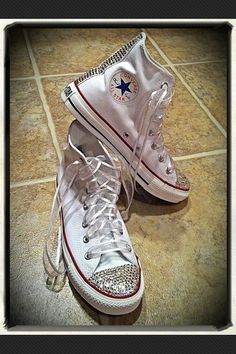 ADULT SIZE white bling Chuck Taylor Converse by Munchkenz on Etsy, $125.00