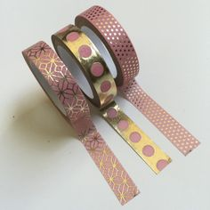 PINK & GOLD Washi Tape Set 3 Decorative craft tapes lot 5 yards / roll Planner crafts Metallic Foil Dots + Patterned prints Recollections