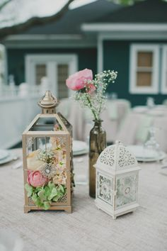 Lauren + Mario at Gardens of Bammel Lane | Two Be Wed. The bride's own collection of lanterns housed beautiful pink and peach floral centerpieces. Simple but effective.