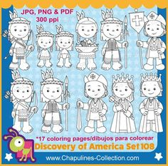 The Discovery of America clipart, Black and White, Columbus day, Set 108 Elementary Spanish, School Clipart, Picture Boards, Columbus Day, Clipart Black And White, Christopher Columbus, Discovery, Coloring Pages, Activities For Kids