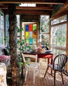 Room Interior Design, Interior And Exterior, Tree House Interior, Tree House Decor, Interior Architecture, Casa Octagonal, Ideas Cabaña, Mismatched Furniture, Romantic Room