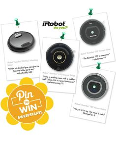 "We're giving away iRobots! Enter our ""Pin to Win"" Spring Cleaning sweepstakes for your chance to win===> http://on.fb.me/14pC9yM Official Rules: bit.ly/XPhYan"