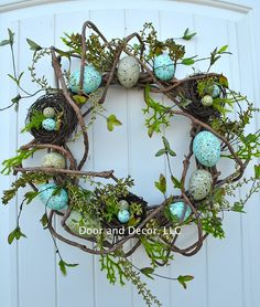 Easter wreath~Woodland Easter wreath~pastel egg wreath~spring wreath~wreath with bird nest~front door wreath~welcome wreath~wreaths by DoorandDecor on Etsy https://www.etsy.com/listing/267727087/easter-wreathwoodland-easter