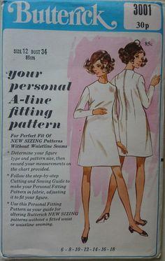 Vintage 1960s Sewing Pattern Butterick 3001 Basic A-Line Shell Dress Uncut B34