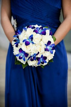 Violet Purple Blue Aqua Indigo Cobalt Wedding Bouquet