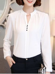 SHARE & Get it FREE   Trendy Long Sleeve Buttoned White Chiffon ShirtFor…