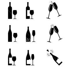 wine bottles and glasses Wine Tattoo, Bottle Tattoo, Wine Icon, Wine Meme, Wine Logo, Woman Wine, Wine Design, Shop Logo, Free Vector Art