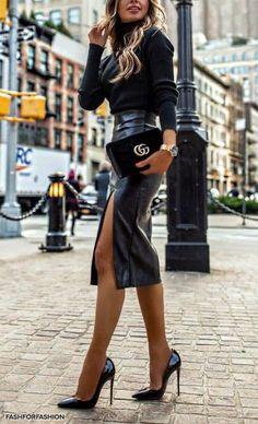 Midi Skirt High slit black Leather Midi Skirt and cracking Stilettos add to a superb Street. High slit black Leather Midi Skirt and cracking Stilettos add to a superb Street Style Mode Outfits, Fall Outfits, Fashion Outfits, Womens Fashion, Skirt Fashion, Fashion Ideas, Leather Midi Skirt, Black Leather Skirts, Outfits With Leather Skirt