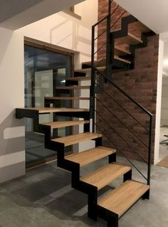 Building Stairs Architecture Stairways 40 Ideas For 2019 Rustic Stairs, Modern Stairs, Metal Stair Railing, Stair Lift, Stairs In Kitchen, Building Stairs, Metal Building Homes, Building A House, Escalier Design