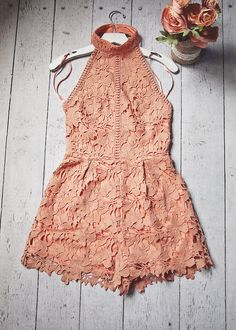Dusty Peach Lace Halter Romper