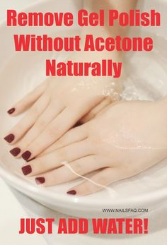 No acetone? No problem! Soak gel nails in warm water.  Gel polish can be removed from the nails without acetone in a natural way by soaking the gel polish in warm water for 15 minutes. During this time, heat from the warm water will soften and expand the old gel polish so its adhesive bond to the natural nail surface is weakened and gel polish can be peeled away by using other fingernails easily.  For a complete step-by-step guide, visit our website. Remove Gel Polish, Remove Acrylic Nails, Acrylic Nails At Home, Gel Nails At Home, Gel Polish Colors, Gel Color, Gel Nail Polish, Take Off Gel Nails, Nails Now