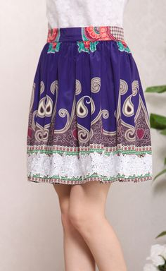 Blue Paisley Print Flowers Applique Skirt