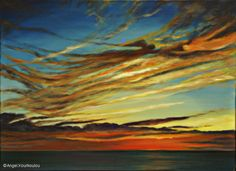 THE SUNSET UNVEILS I, oil on canvas, 55x75cm, 2006 Oil On Canvas, Angel, Sunset, Nature, Painting, Art, Art Background, Naturaleza, Painting Art