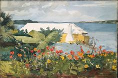 heaveninawildflower:  'Flower Garden and Bungalow, Bermuda' (1899). Watercolour by Winslow Homer (1836–1910 ).Image and text courtesy The Metropolitan Museum of Art