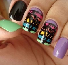 Summer Nails. would do this for vacation. somewhere tropical with a beach, an ocean, and palm trees