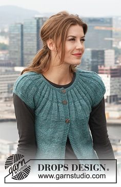 """Knitted DROPS jacket with short sleeves and round yoke in """"Karisma"""". Size: S - XXXL. Knitting Patterns Free, Knit Patterns, Free Knitting, Free Pattern, Drops Design, Crochet Jacket, Knit Crochet, Drops Patterns, Crochet Diagram"""