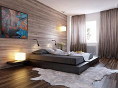 chambre cosy - lambris bois, lit design, sol en parquet contrecollé, tapis en peau de bête et tableau multicolore