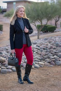 b2f3f26813ca Black Blazer and Riding Boots combine for a classic outfit with colored  jeans and a basic
