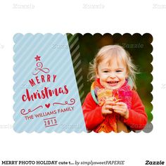 MERRY PHOTO HOLIDAY modern cute tree typography blue red Have yourself a trendy little christmas this year with these DIY templates available for purchase 5x7 Paper Invitation Card - setup as a template you personalize it with your details and photo.  #customchristmascard #photochristmascard #holidaycard #2016holidaycard #photoholidaycard #zazzle #simplysweetpaperie